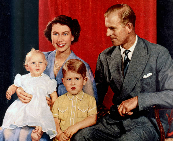 Princess Elizabeth and Prince Philip with Prince Charles and Princess Anne as a baby 1951