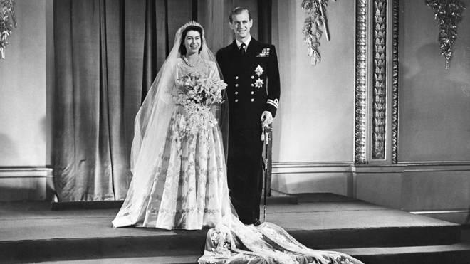 Princess Elizabeth and the Duke of Edinburgh at their wedding in 1947