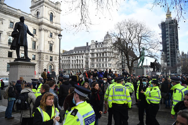 Demonstrators gathered at Parliament Square in central London before marching down Whitehall.