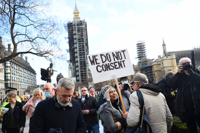 """Protesters shouted """"freedom"""" as they marched from Parliament Square."""
