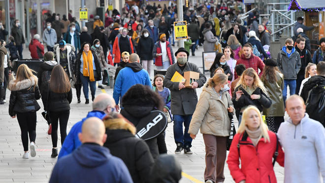 Shoppers pictured in Cardiff earlier today before the rule change was announced