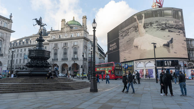Piccadilly Circus as Tier 4 Covid-19 measures start in London