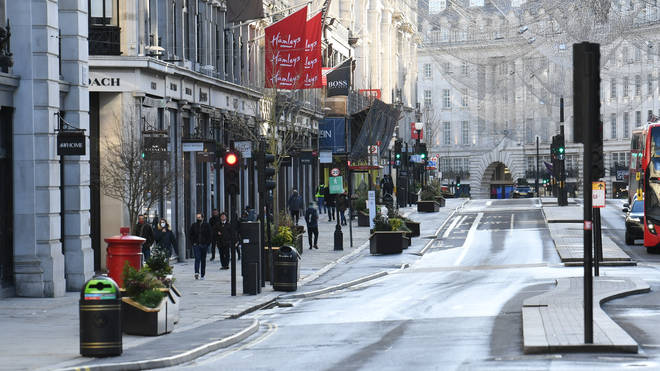 Regent Street devoid of crowds amid the new restrictions
