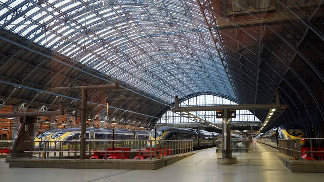 Empty platforms at St Pancras station