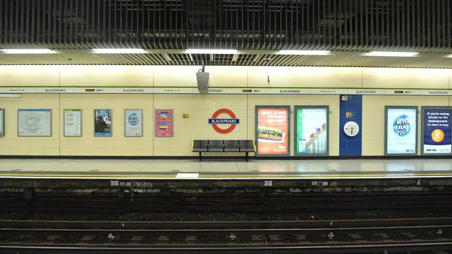 A deserted platform at Blackfriars Tube station