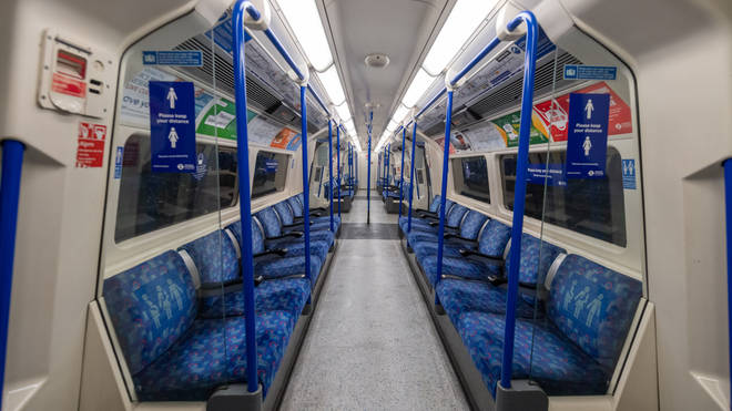 An empty London Underground train as people are urged to stay at home