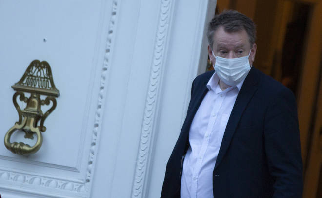 Britain's chief negotiator David Frost leaves the UK ambassadors residence in Brussels on Sunday