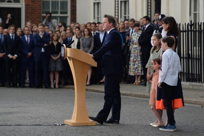 David Cameron spoke alongside his family as he left Downing Street on 13 July 2016.