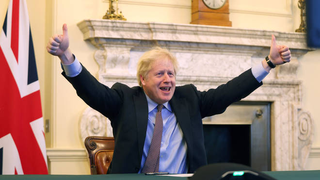 Boris Johnson reacts as a deal is struck between the UK and the EU