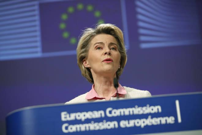 European Commission President Ursula von der Leyen addresses a media conference on Brexit negotiations