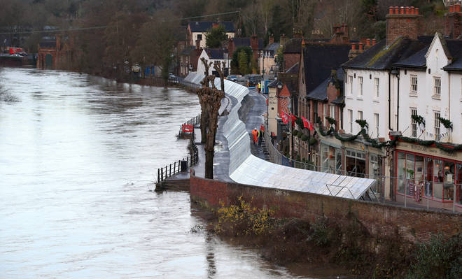 Flood defences were installed in Ironbridge, Shropshire, ahead of Storm Bella.