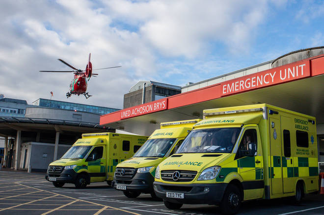 File photo: A general view of a Welsh Air Ambulance flying at the University Hospital of Wales in Cardiff.