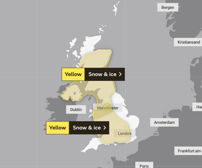 Snow and ice warnings are in place for Monday