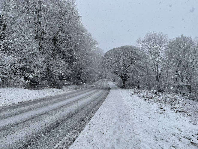 There were snowy scenes and dangerous road conditions in Malvern, Worcestershire.