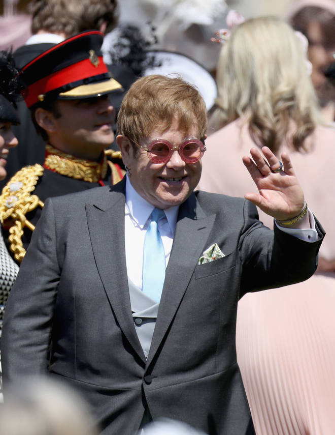 Elton John pictured at the couple's wedding