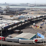 Lorries pictured boarding a ferry in Dover