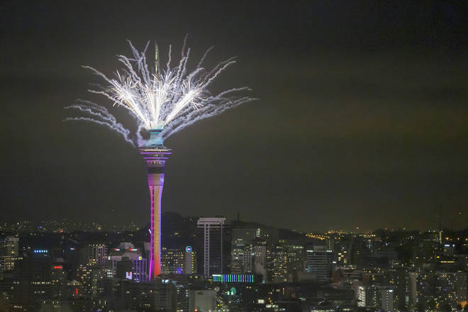 Fireworks from the SkyTower during Auckland New Year's Eve celebrations