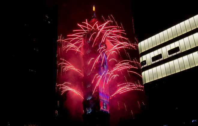 Fireworks light up the Taiwan skyline and Taipei 101 during New Years Eve celebrations