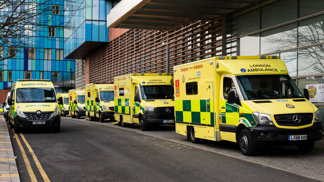 Ambulances parked outside the The Royal London Hospital emergency department