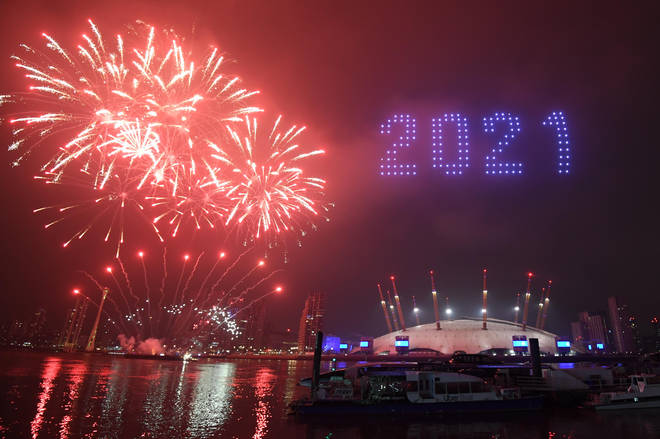Some fireworks and drones lit up parts of London's skyline as the clock struck midnight