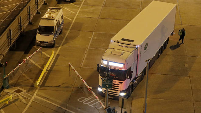 One of the first lorries to arrive from France drives through Dover last night