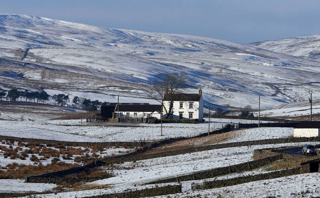 A cottage surrounded by snow in Teesdale