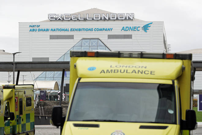 Ambulances were seen parked outside the Nightingale Hospital in London as the capital struggles with the number of Covid patients.