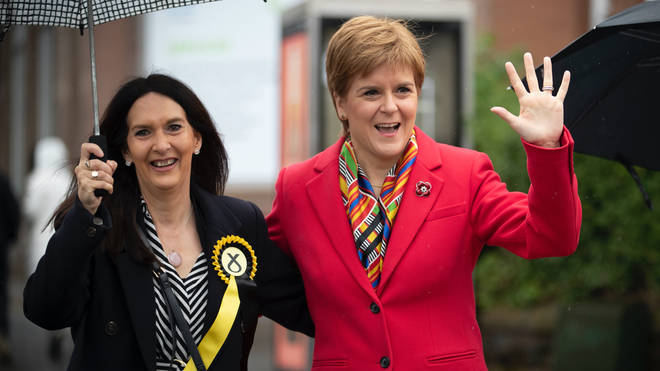 Margaret Ferrier pictured before her alleged Covid breach with Scottish First Lady Nicola Sturgeon
