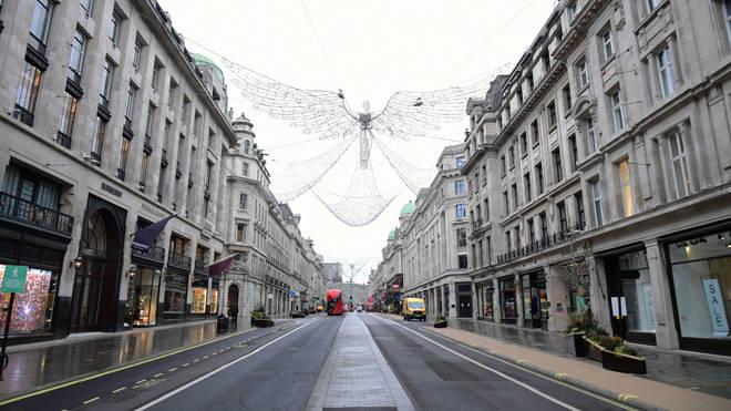 A deserted Regent Street yesterday