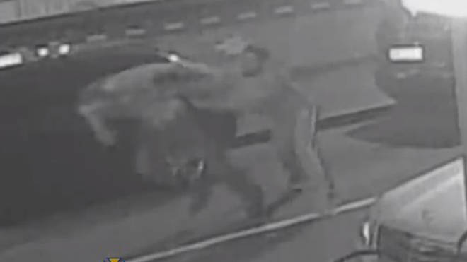 The moment the victim was pushed to the floor and then violently beaten