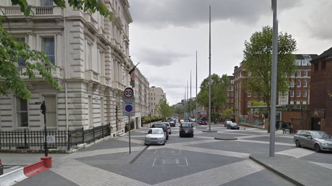 Officers on patrol discovered the event, in Exhibition Road, Kensington, central London, when they spotted a large group outside trying to get into an address