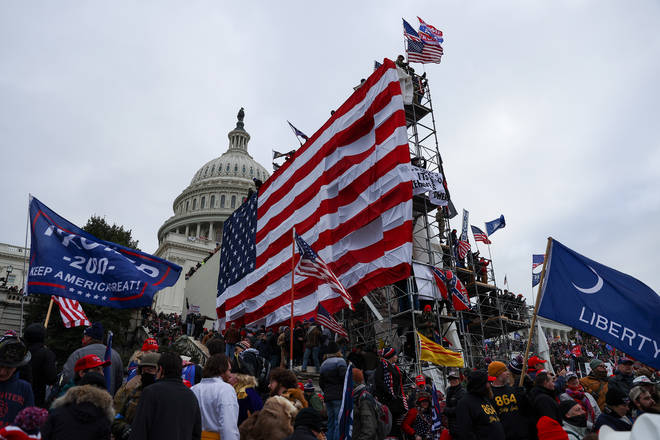S President Donald Trumps supporters gather outside the Capitol building in Washington D.C.