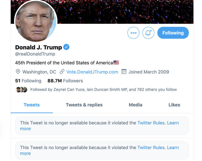 Donald Trump's Twitter account was suspended