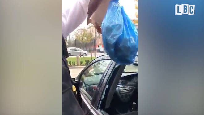 Police pulled out the bag of drugs after breaking into the car