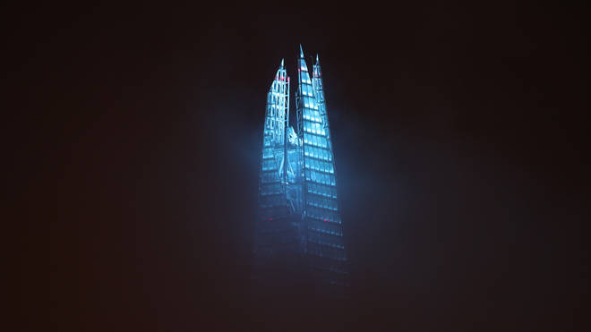 The shard was lit up in blue