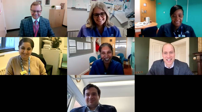 Prince William spoke in a video call with staff from Homerton University Hospital in East London