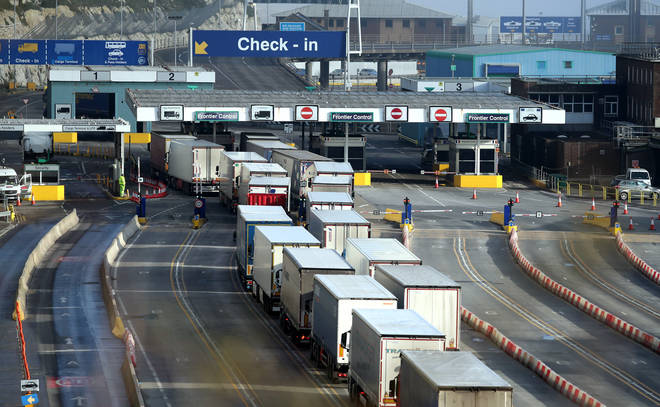 Lorries arrive at the Port of Dover this week