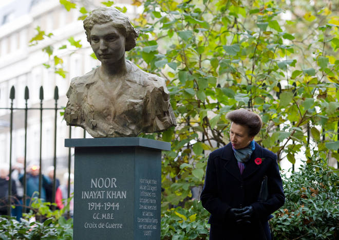 Princess Anne unveils the statue of Noor Inayat Khan