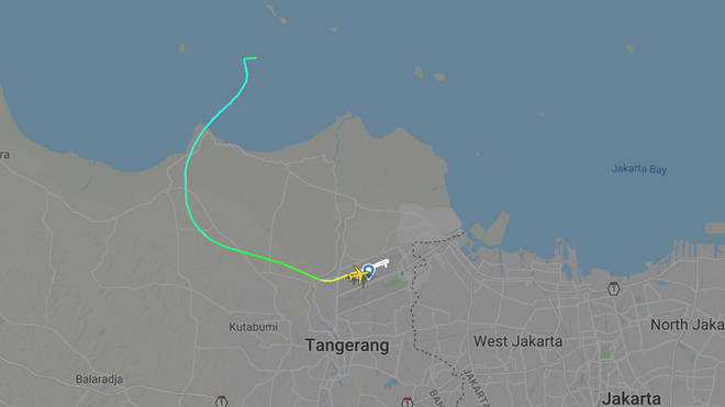 The passenger flight disappeared over the sea near Jakarta Bay