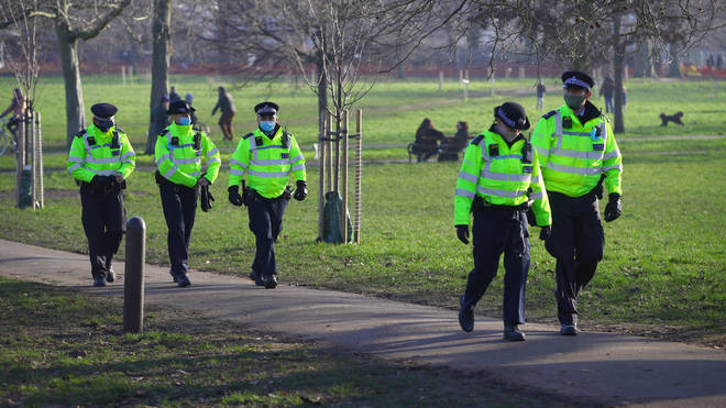 A large police presence was in place near Clapham Common as the demonstration began