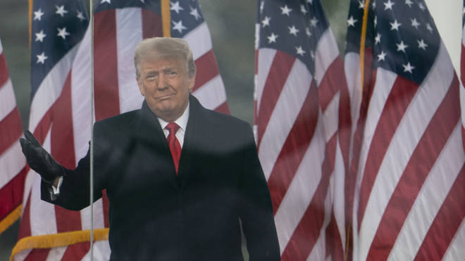 President Donald Trump speaking at his rally on Wednesday
