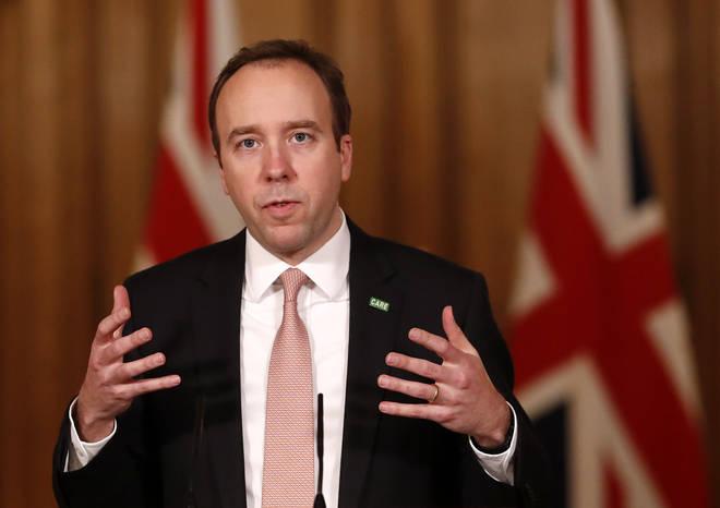 Health Secretary Matt Hancock addressed a Downing Street briefing