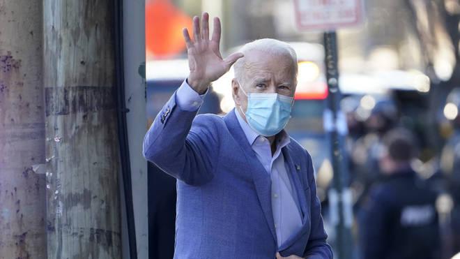 President-elect Joe Biden arrives at The Queen Theatre in Wilmington, Delaware