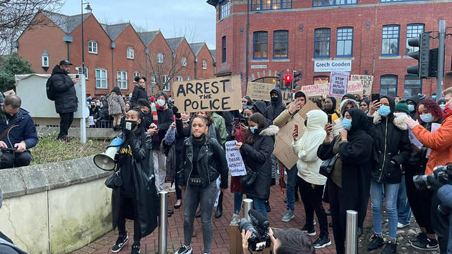 Protesters marched through Cardiff city centre to a local police station