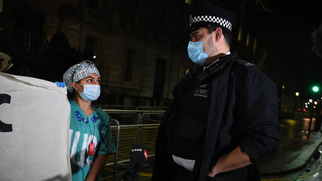 Police confronted the NHS staff and asked them to move on