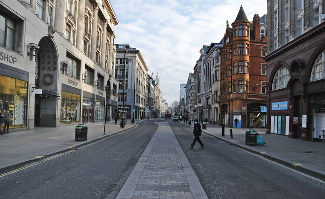 A view of a virtually empty Oxford Street, in London