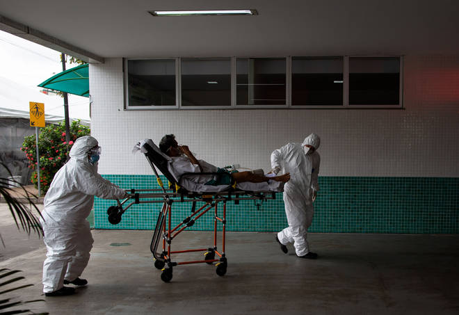 A patient arrives at the 28 de Agosto Hospital in Manaus