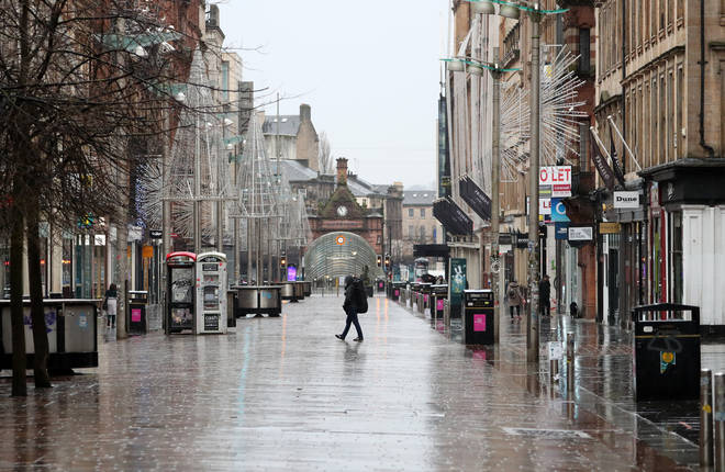 A general view of Buchanan Street in Glasgow, as stricter lockdown measures have came into force