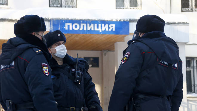 Alexei Navalny is being detained at a police station in Moscow