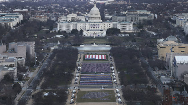 """The """"Field of Flags"""" placed on the ground on the National Mall"""